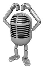 3D Classic Microphone Mascot gesture of love in To the left towa
