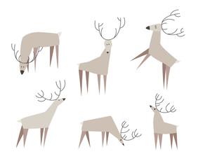 Set of fancy vector deers