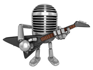 3D Classic Microphone Mascot to be playing the electric guitar.