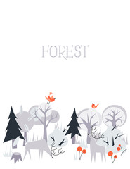 Vector background with animals and trees