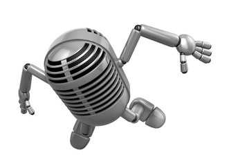 3D Classic Microphone Mascot to be powerful and jumping. 3D Clas