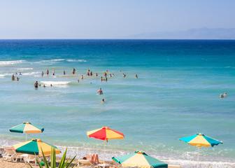 The beach on the Aegean Sea. Rhodes Island. Greece