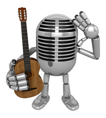 3D Classic Microphone is holding acoustic guitar. 3D Classic Mic