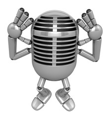 3D Classic Microphone Mascot gesture of both hands to hear that.
