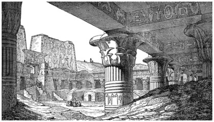 Ancient Egypt : Temple Ruins - view 19th century