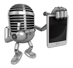3D Classic Microphone Mascot the right hand is holding a tablet