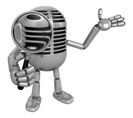 3D Classic Microphone Mascot look through a magnifying glass. 3D