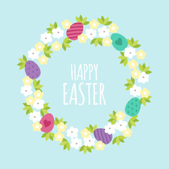 Happy Easter greeting card template with flowers