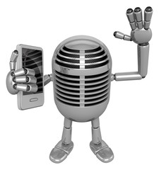 3D Classic Microphone Mascot the left hand guides and the right