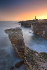 Rocky Coastline of Portland Bill at Sunset