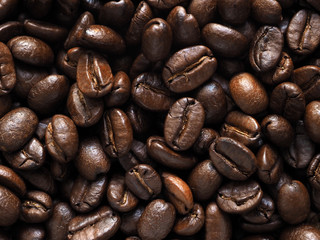 Roasted coffee crop beans background