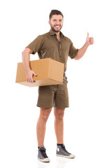 Messenger with a package giving thumb up