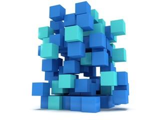 3D Cubes block. Assembling concept.