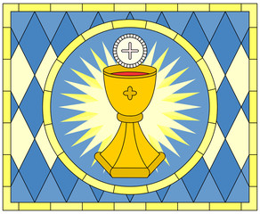 Eucharist (Christian Symbol), stained glass