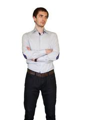 Young man cross hands looking in doubts