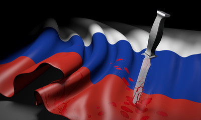 Russian flag and bloody knife, symbolizing conflict with Ukraine