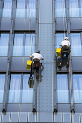 Two climbers wash windows