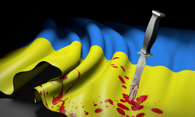 Ukraine crisis represented by a bloody knife in a Ukrainian flag