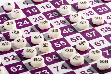 Plastic Bingo Numbers on Top of the Game Card