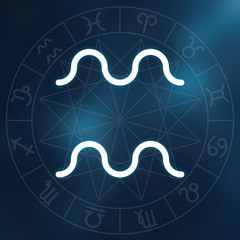 Zodiac sign - Aquarius. White thin line astrological symbol