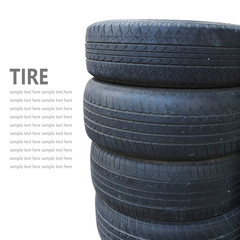 Tire stack isolated on white background