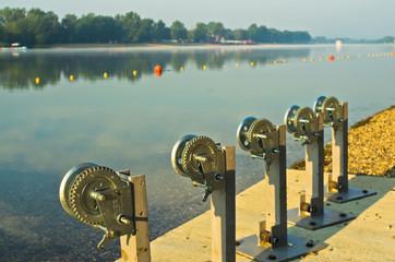 Winch for boats at Ada island lake beach in Belgrade