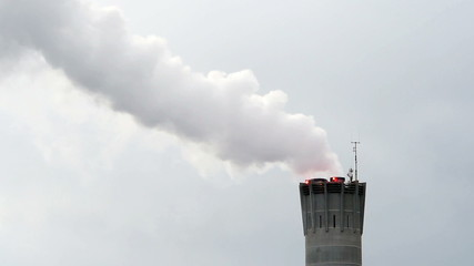 Smoking factory smoke stack