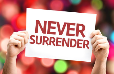Never Surrender card with colorful background