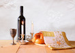 shabbat image. challah bread, shabbat wine and candelas on woode - 78978609