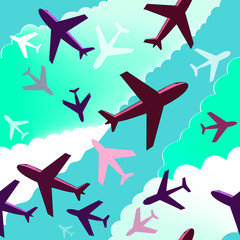 Airplanes background. Seamless background pattern with color air