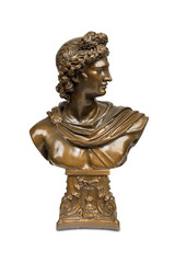 Bust sculpture of Phoebus Apollo with clipping path.