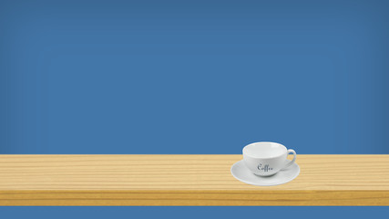 White cup on the shelf with a colored background space for text