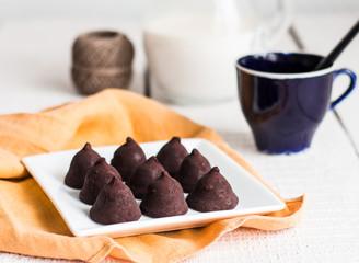 Dark chocolate truffles ready to eat