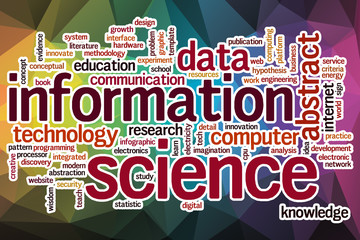Information science word cloud with abstract background