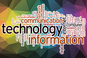 Information technology word cloud with abstract background