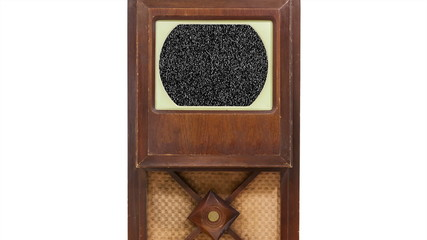 Vintage Wood Television with Static Screen and Zoom