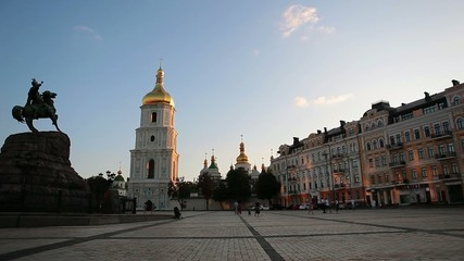 Kiev, St. Michael's Cathedral. People walk on the area.