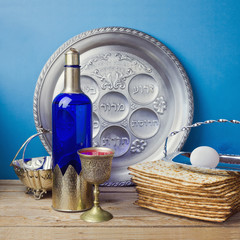 Jewish holiday Passover celebration with matzo and wine