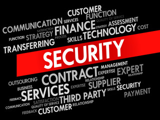 Security related items words cloud, business concept