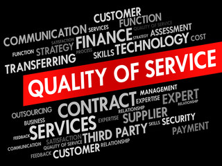 Quality of Service related items words cloud, business concept