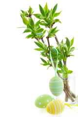green tree twigs and easter eggs