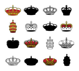 crown set, vector.coat of arms
