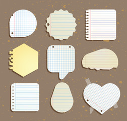 set of paper notes speech bubbles. Vector illustration.