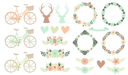 Wedding floral set and three reindeer silhouette with flowers