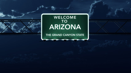 Arizona USA State Welcome to Highway Road Sign at Night
