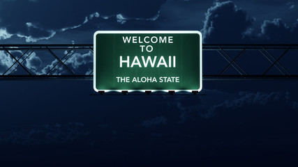 Hawaii USA State Welcome to Highway Road Sign at Night