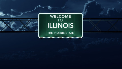Illinois USA State Welcome to Highway Road Sign at Night