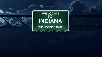 Indiana USA State Welcome to Highway Road Sign at Night