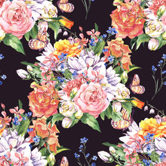 Floral seamless watercolor background with roses