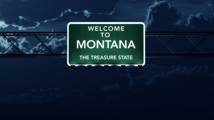 Montana USA State Welcome to Highway Road Sign at Night